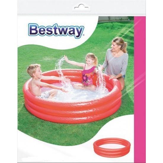 Bestway 3 Halkalı Renkli Şişme Çocuk Havuzu Kırmızı 51024