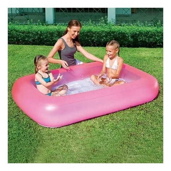 Bestway Şişme Tabanlı Dikdörtgen Şişme Çocuk Havuzu Pembe 51115