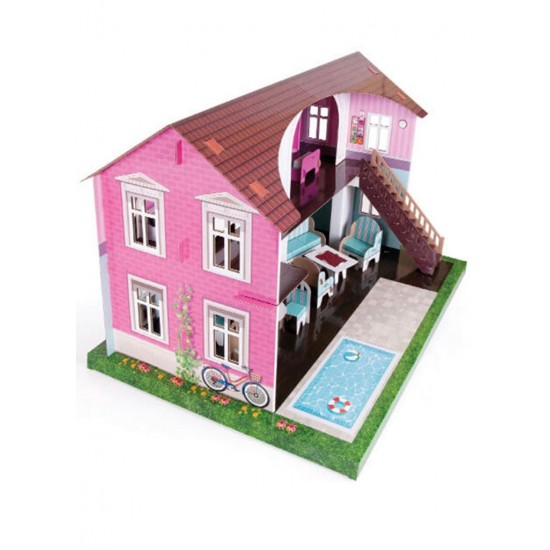 Maket Mobilyalı Oyun Evi Karton maket ev 17 Parça 3 Boyutlu